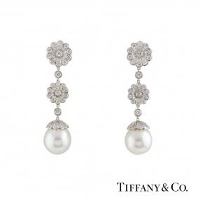 Tiffany & Co. Platinum Diamond and Pearl Earrings